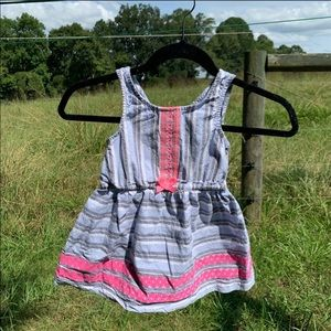 EUC Striped Cotton Dress w/ Pink Accents Girl's 4T